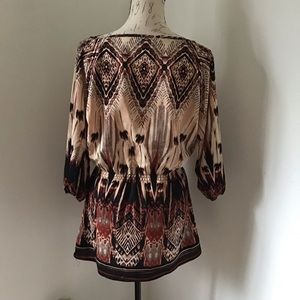 Angie Tops - Angie- Elastic Waisted Printed Tunic